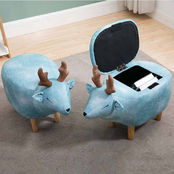 new household low foot stool small cartoon animal wood bench kids children chair living room small tea table sofa leather fabric