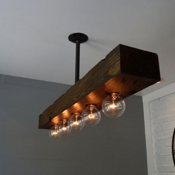 rustic farmhouse style recessed 5 light dark distressed wood beam large linear island pendant light