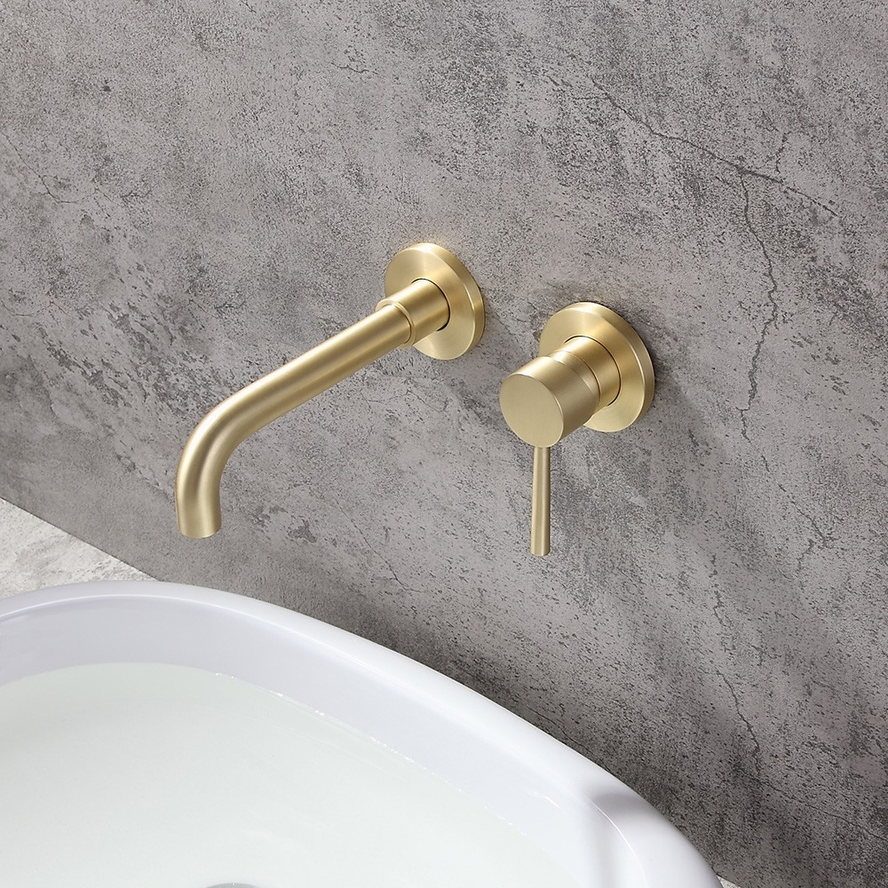 modern brushed brass single lever wall mounted bathroom faucet swivel sink faucet solid brass