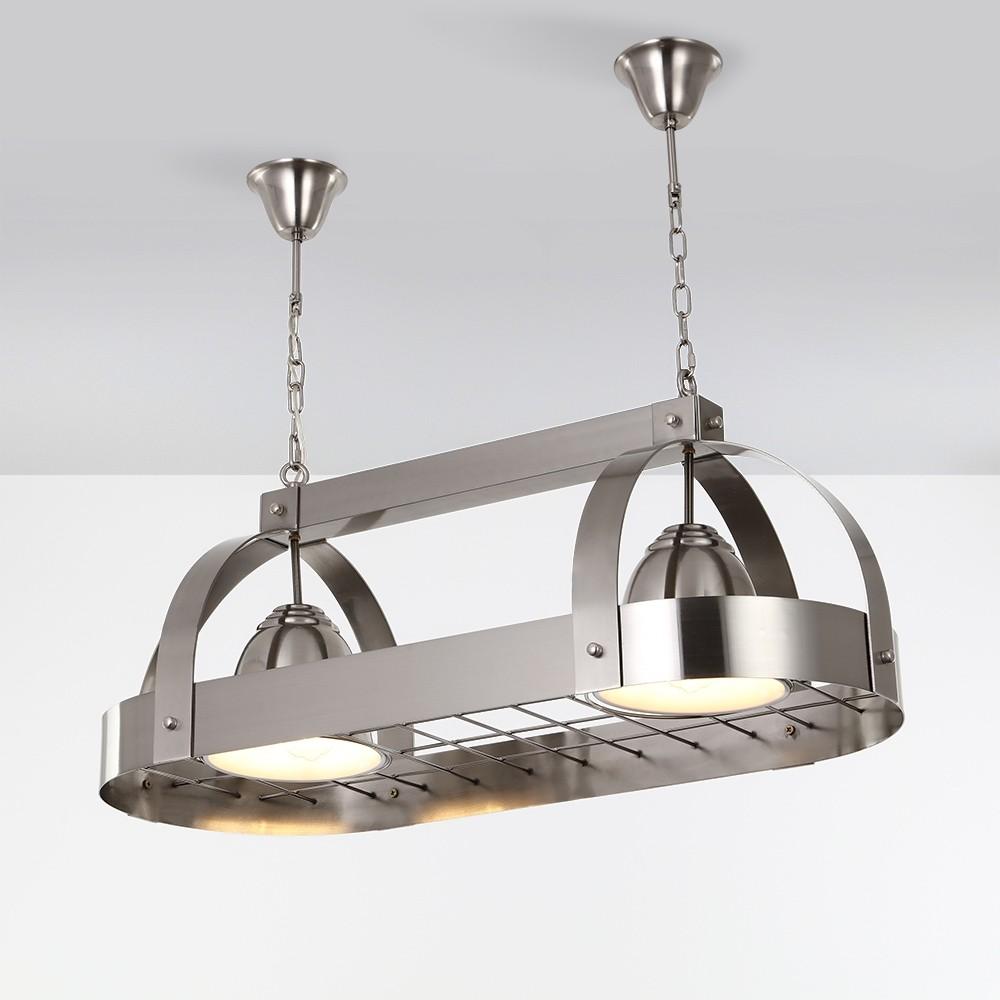 modern oval 2 light kitchen island light brushed nickel ceiling hanging pot rack down light