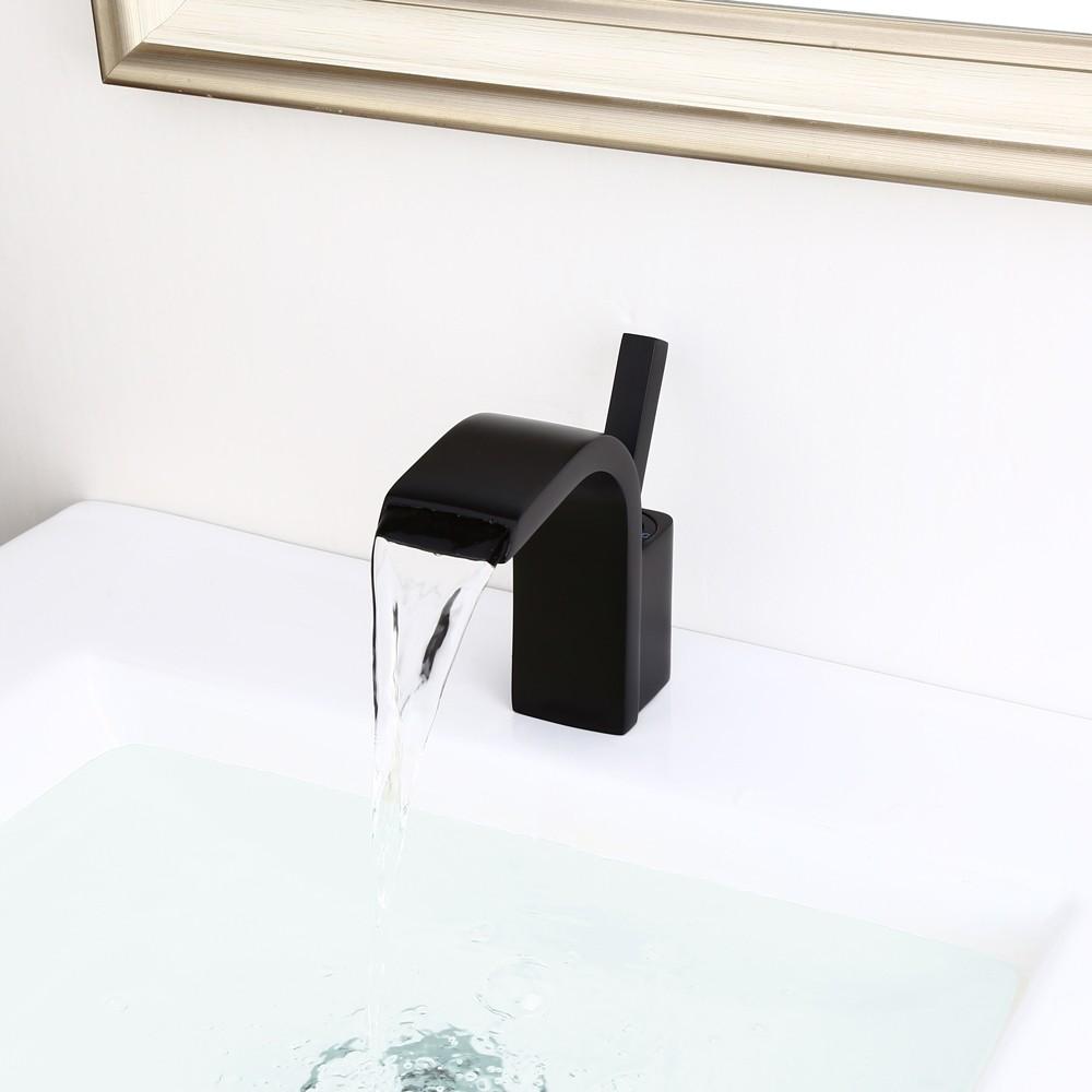 modern single joystick handle single hole solid brass waterfall spout bathroom sink faucet in matte black