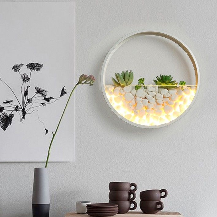 Luxury Ultra Modern Led Artificial Mini Wall Planter Round Metal Glass Indoor Wall Light In White Black Ultra Modern Led Artificial Mini Wall Planter Round Metal Glass Indoor Wall Light In White