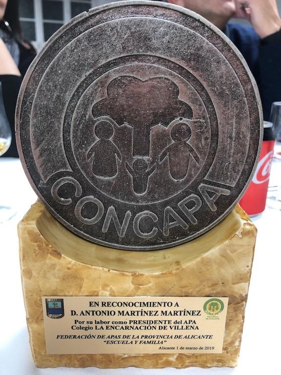 Reconocimiento a nuestro expresidente Antonio Martínez en la Asamblea Provincial de CONCAPA.