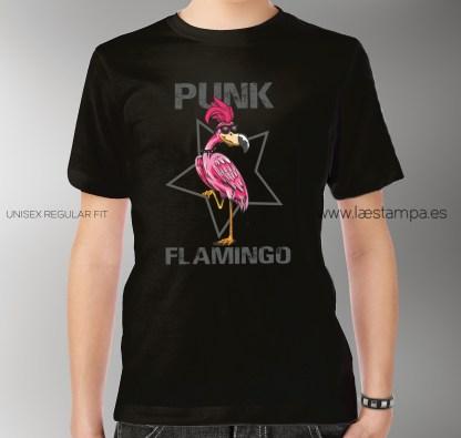 camiseta unisex hombre mujer punk flamingo