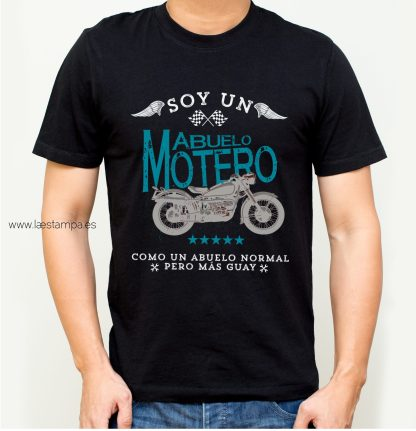 abuelo motero camiseta para hombre negro cuello redondo manga corta ropa informal regalo original