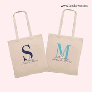 bolsa de tela tote bag personalizada para bodas detalle de bodas eventos con inicial y nombres