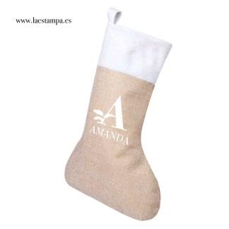 calcetin de navidad para el arbol o la chimenea de algodon canvas y poliester peluche decoracion para el hogar navideña