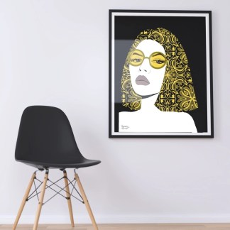 lamina the girl with yellow glasses decoracion hogar cuadros posters