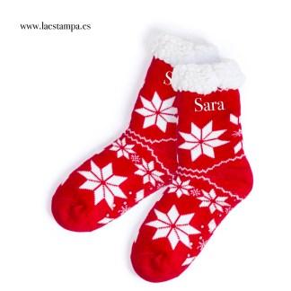 calcetines rojos navidad antideslizantes con tu nombre