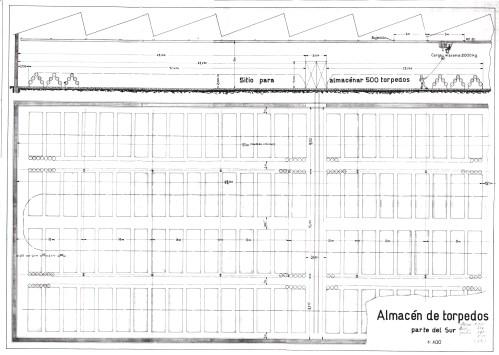 Perfil y planta del almacén de torpedos de la Fábrica Nacional de Torpedos