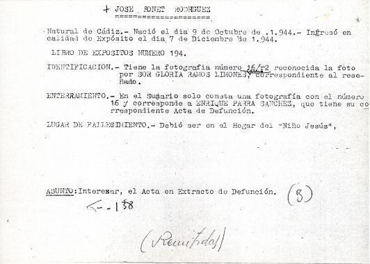 Ficha aclaratoria de la identidad de José Bonet Rodríguez