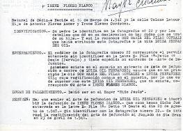 Ficha aclaratoria de la identidad de Irene Flores Blanco