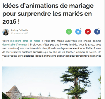 Animations mariage