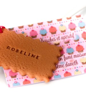 menu bapteme fille rose gourmand biscuit prénom