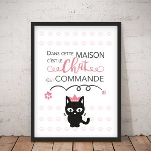 Affiche Chat rose