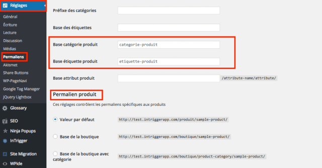 creer site woocommerce configurer permalien