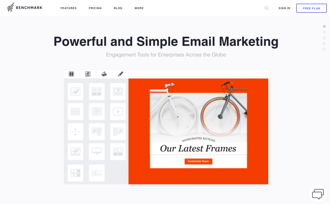 exemples landing pages accueil benchmark email
