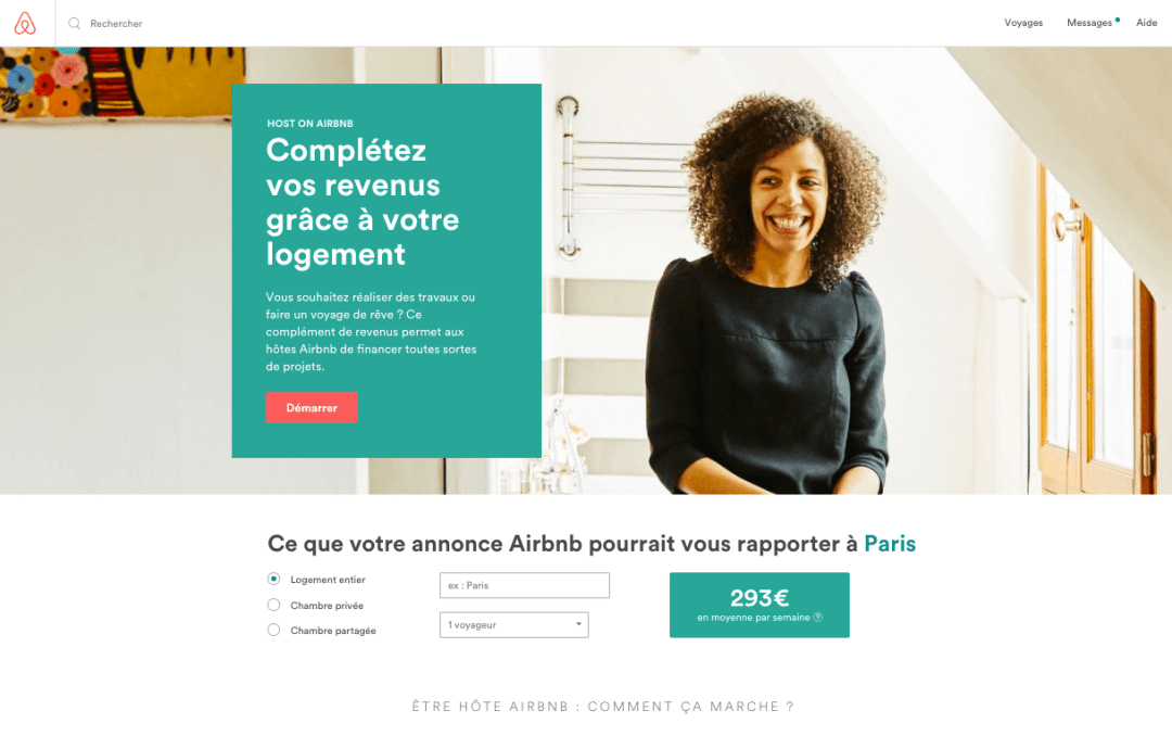 exemples atterrissage acquisition trafic airbnb