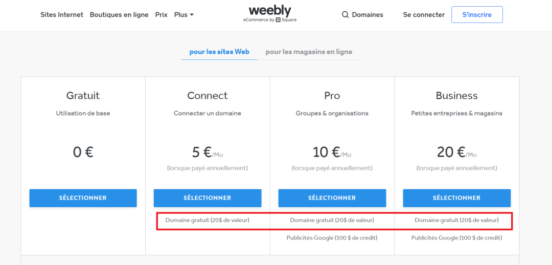 weebly domaine gratuit