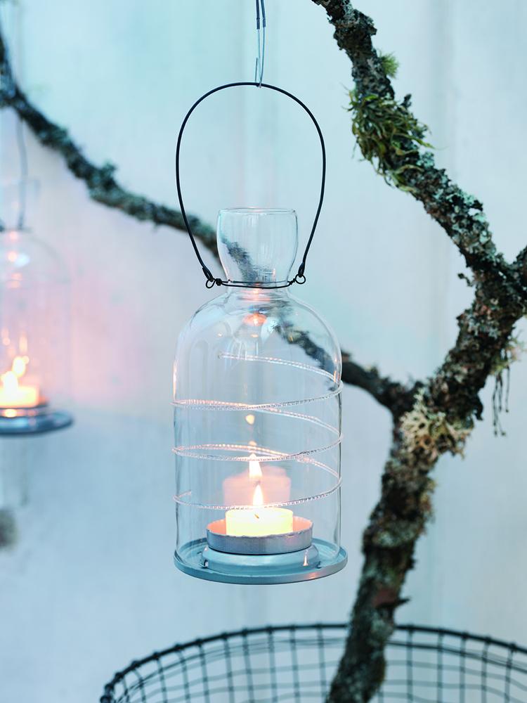 lanterne photophore en verre suspendue