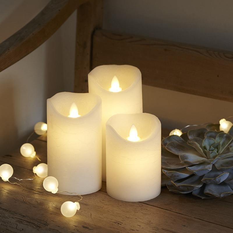 Set de 3 bougies leds en cire amande TENNA