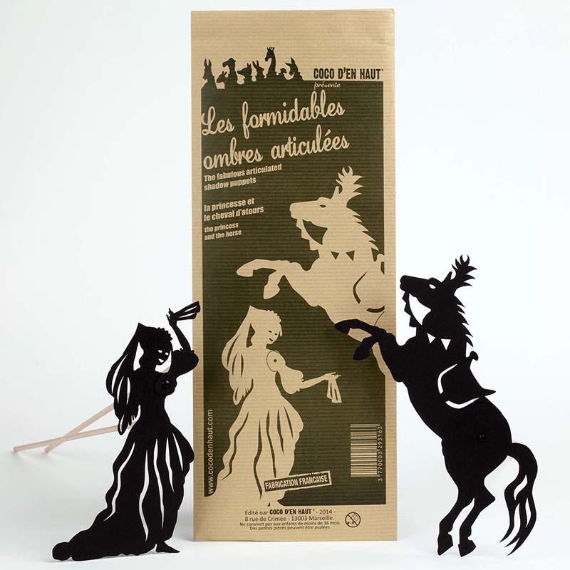 marionnette articulées pour enfant représentant une princesse et un cheval