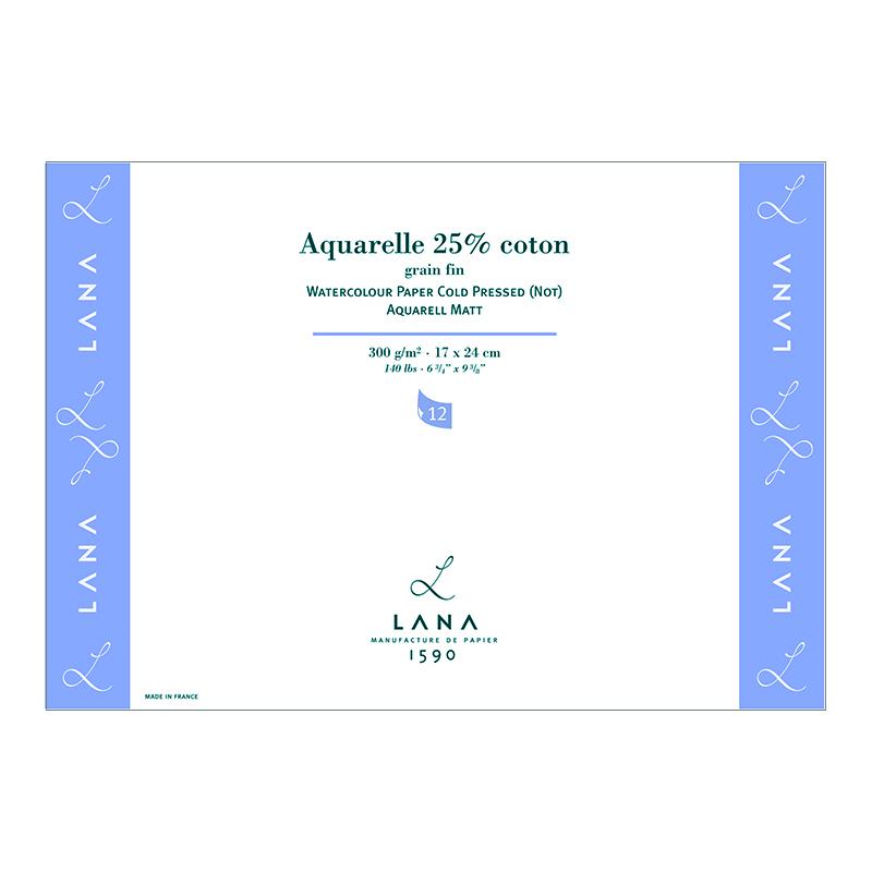 Bloc papier AQUARELLE grain fin 25% coton