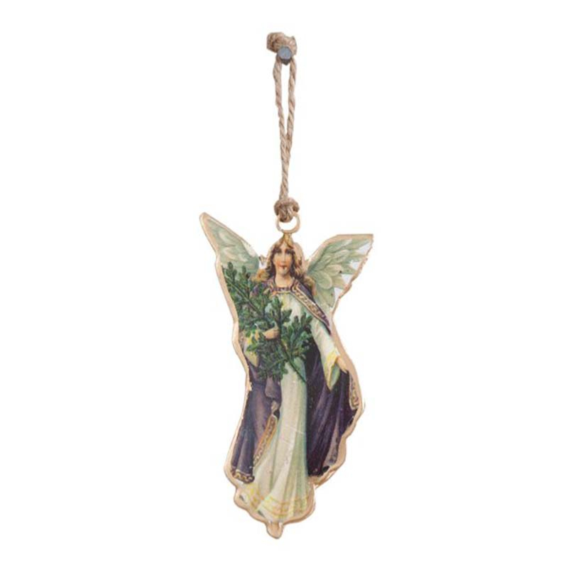 Chromo Noël en métal MEMORIES Ange Violet