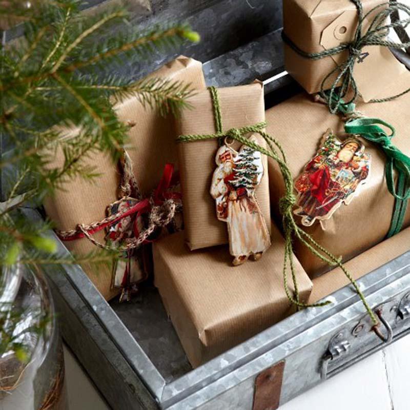 Chromo Noël en métal MEMORIES Père Noël Blanc