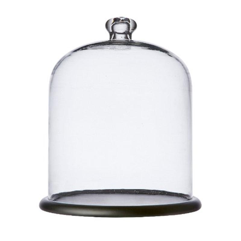 Cloche de verre avec plateau bois BELLA