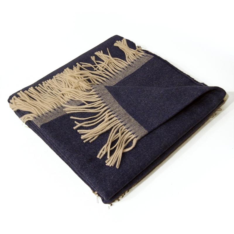 Plaid laine cashmere bleu