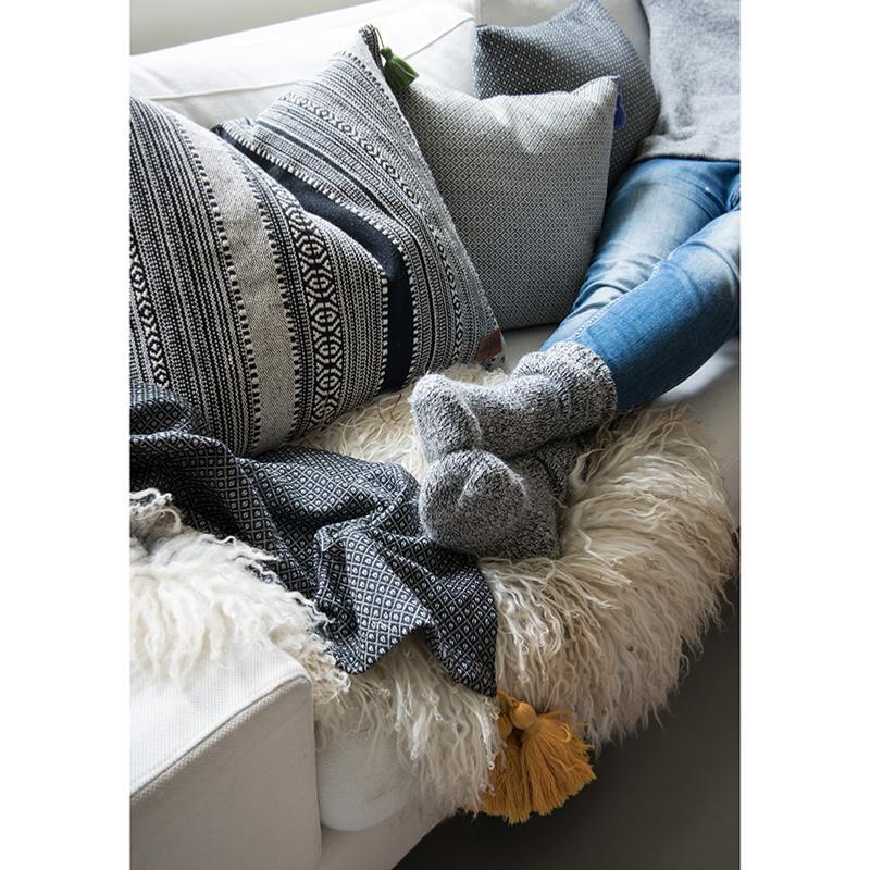 Housse de coussin à motifs gris GUSTAV