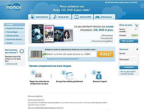 Momox le service de vente achat CD, Livre et Jeux vidéo