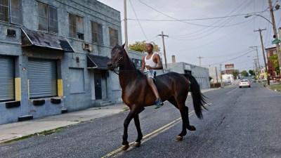 """Don´t fence me in - Urban Horsemen Philadelphia Romere, 13, ist mutig und furchtlos - viele Pferdebesitzer vertrauen ihm ihre Pferde an, obwohl er noch nicht lange Teil der Community ist. Stolzerfüllt reitet er ohne Sattel den Hengst """"Ace N Da Whole"""" durch die Straßen von North Philadelphia. (Glenwood Ave & Dauphin St, North Philadelphia, 03.10.2013)"""