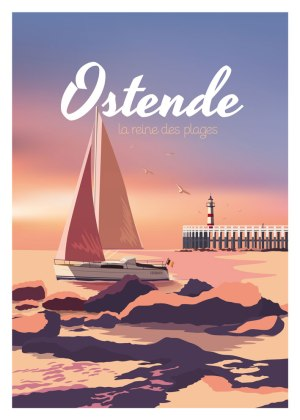 Affiche Belgique plage Ostende phare bateau bord de mer cote belge
