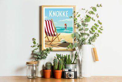 Affiche Belgique plage Knokke bord de mer cote belge