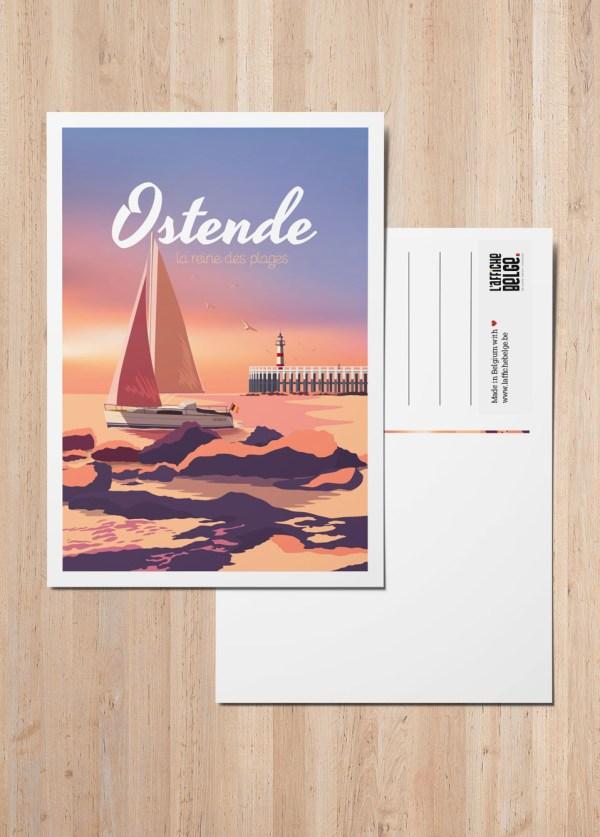 Carte Postale Belgique plage Ostende phare bateau bord de mer cote belge