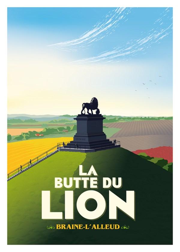 Affiche Belgique La Butte du Lion