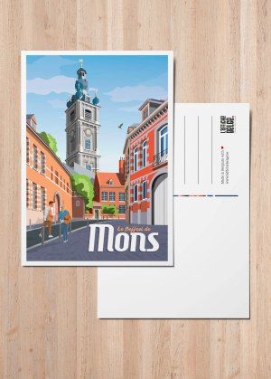 Affiche Belgique Mons Beffroi