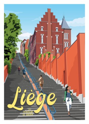 Affiche Belgique Liège La Montagne de Bueren
