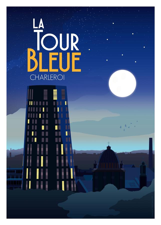 Affiche Belgique Charleroi tour de police bleue