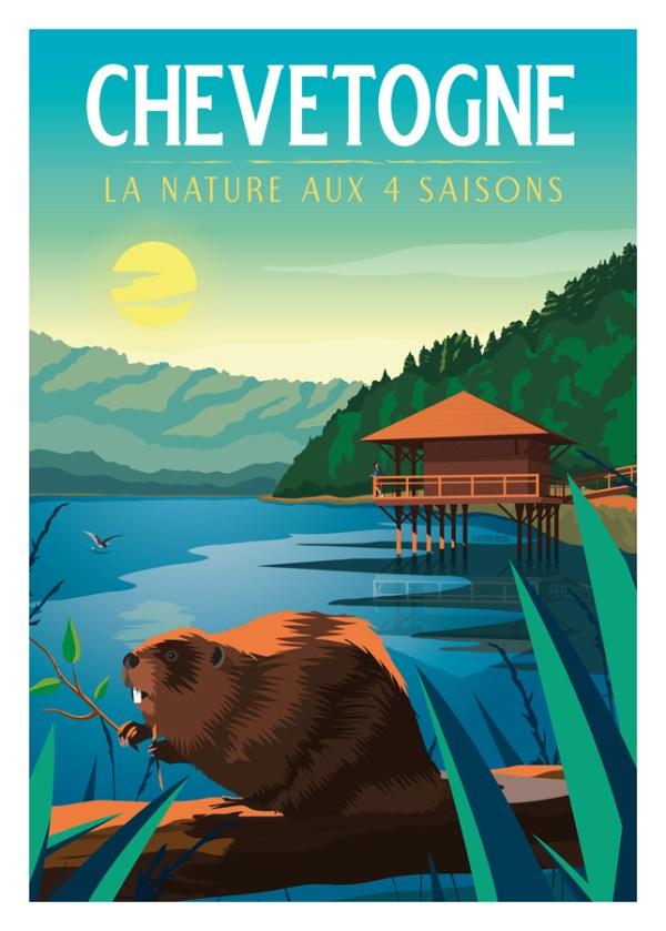 Affiche Chevetogne - La nature aux 4 saisons