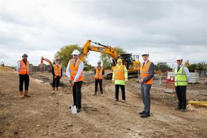 ENGIE Regeneration/Lafford Homes/North Kesteven District Council. Ground-breaking ceremony to celebrate the start of construction at Station Road.