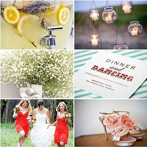 mariage champêtre rouge jaune rose romantique