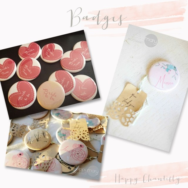 Badge sur mesure mariage - Happy Chantilly - LaFianceeduPanda.com