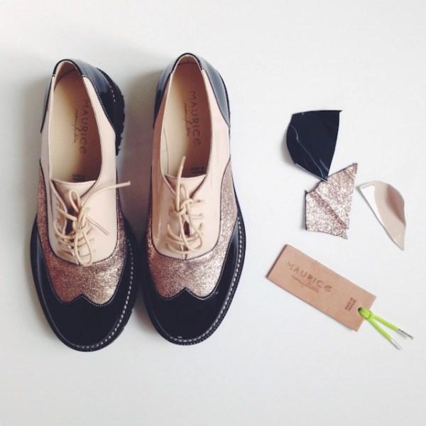 Collaboration La Fiancee du Panda x Maurice Manufacture - Chaussures blogueuse - derbies glitter-
