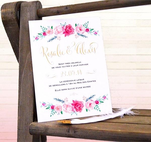 Faire-part aquarelle fleurs Happy Chantilly x La Fiancee du Panda blog mariage-