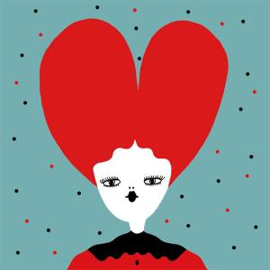 Big creature with a big red heart instead of her hair! Half bust girl, surrounded by a full light blue background: romantic and a bit lost!