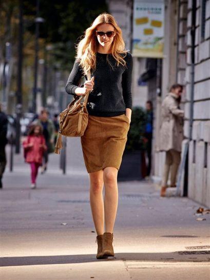 jupe cuir velours