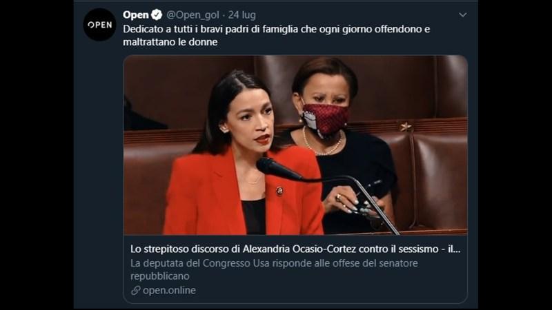 Alexandra Ocasio Cortèz usa una contestazione politica per un monologo contro gli uomini.